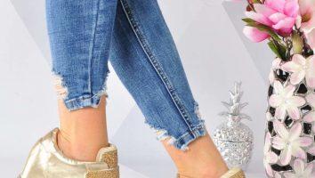 blyszczace sneakersy damskie na koturnie